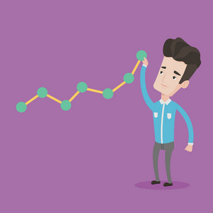 Young businessman looking at chart going up. Businessman lifting a chart. Businessman pulling up a graph. Concept of growth and success in business. Vector flat design illustration. Square layout.