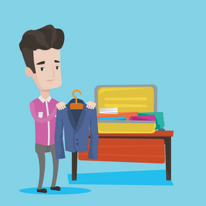 Young businessman packing his clothes in an opened suitcase. Smiling caucasian businessman putting a suit into a suitcase. Man preparing for vacation. Vector flat design illustration. Square layout.