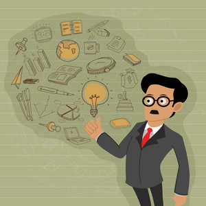 Young businessman presenting business infographic elements on stylish background.
