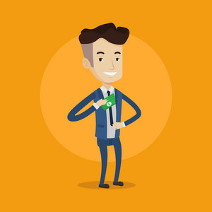 Young businessman putting money in his pocket. Businessman hiding money in jacket pocket. Bribing, corruption and fraud concept. Vector flat design illustration. Square layout.
