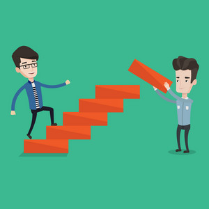 Young businessman runs up the stairs while another man builds this ladder. Happy businessman climbing the career ladder. Concept of business career. Vector flat design illustration. Square layout.