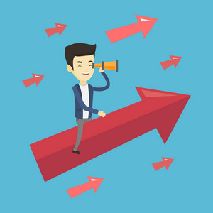 Young businessman searching for opportunities. Asian businessman using spyglass for searching of business opportunities. Business opportunities concept. Vector flat design illustration. Square layout.
