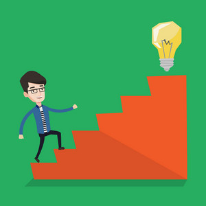 Young businessman walking upstairs to the idea light bulb. Businessman running on the stairs to get the light bulb on the top. Business idea concept. Vector flat design illustration. Square layout.