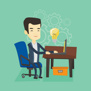 Young businessman working on a laptop on a new business idea. Asian happy business man having new business idea. Successful business idea concept. Vector flat design illustration. Square layout.