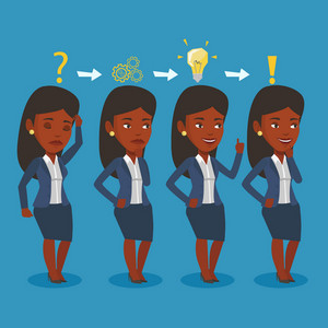 Young businesswoman during business planning. An african-american businesswoman working on a new business plan. Business planning concept. Vector flat design illustration. Square layout.