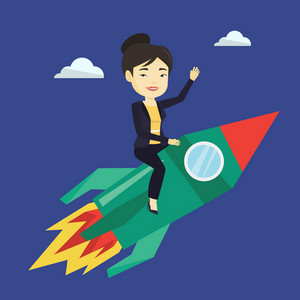 Young businesswoman flying on business start up rocket. Asian business woman sitting on business start up rocket and waving. Business start up concept. Vector flat design illustration. Square layout.