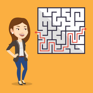 Young businesswoman looking at labyrinth with solution. Caucasian businesswoman thinking about business solution. Business solution concept. Vector flat design illustration. Square layout.