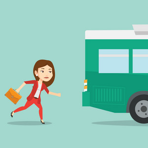 Young businesswoman running to catch bus. Upset caucasian businesswoman running for an outgoing bus. Sad latecomer woman running to reach a bus. Vector flat design illustration. Square layout.