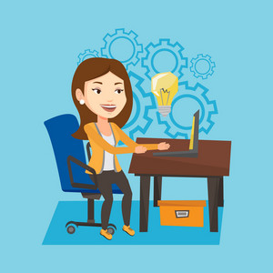 Young businesswoman working on laptop on a new business idea. Caucasian happy businesswoman having business idea. Successful business idea concept. Vector flat design illustration. Square layout.