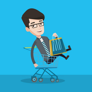 Young carefree customer having fun while riding by shopping trolley. Cheerful caucasian man with a lot of shopping bags sitting in shopping trolley. Vector flat design illustration. Square layout.
