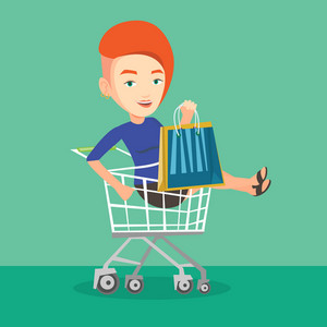 Young carefree customer having fun while riding by shopping trolley. Cheerful caucasian woman with a lot of shopping bags sitting in shopping trolley. Vector flat design illustration. Square layout.