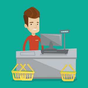 Young cashier standing at the checkout in supermarket. Male happy cashier working at checkout in a supermarket. Cashier standing near the cash register. Vector flat design illustration. Square layout.