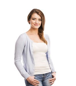 Young casual woman style portrait, studio shot, isolated on white background