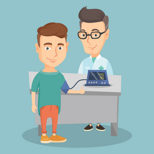 Young caucasain man checking blood pressure with digital blood pressure meter. Happy man giving thumb up while doctor measuring his blood pressure. Vector flat design illustration. Square layout