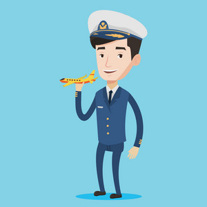 Young caucasian airline pilot holding a model airplane in hand. Cheerful airline pilot in uniform. Smiling confident pilot. Pilot with model airplane. Vector flat design illustration. Square layout.