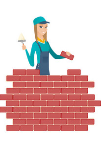Young caucasian bricklayer in uniform at work. Bicklayer working with spatula and brick on construction site. Bricklayer building wall. Vector flat design illustration isolated on white background.
