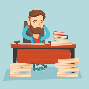 Young caucasian bsiness man in despair sitting at workplace with heaps of papers. Stressful business man sitting at the desk with stacks of papers. Vector flat design illustration. Square layout.