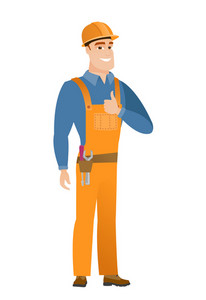 Young caucasian builder in hard hat giving thumb up. Full length of smiling builder with thumb up. Cheerful builder showing thumb up. Vector flat design illustration isolated on white background.