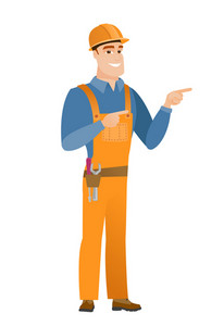 Young caucasian builder in hard hat pointing to the side. Builder pointing his finger to the side. Builder pointing to the right side. Vector flat design illustration isolated on white background.