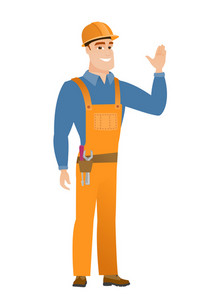 Young caucasian builder in hard hat waving his hand. Full length of builder waving his hand. Builder making greeting gesture - waving hand. Vector flat design illustration isolated on white background