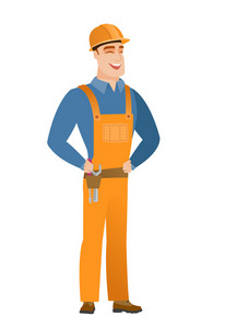 Young caucasian builder laughing. Builder laughing with hands on his stomach. Builder laughing with closed eyes and open mouth. Vector flat design illustration isolated on white background.