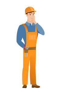 Young caucasian builder thinking. Full length of thinking builder with hand on chin. Builder thinking and looking to the side. Vector flat design illustration isolated on white background.