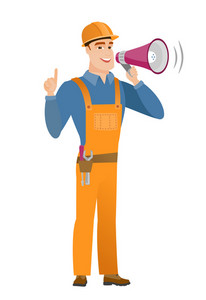 Young caucasian builder with a megaphone making an announcement. Builder in hard hat and workwear making an announcement through megaphone. Vector flat design illustration isolated on white background