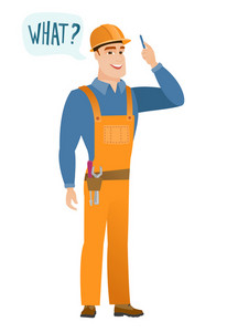Young caucasian builder with question what in speech bubble. Full length of smiling builder with text what in speech bubble. Vector flat design illustration isolated on white background.