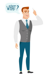 Young caucasian business man with question what in speech bubble. Full length of smiling business man with text what in speech bubble. Vector flat design illustration isolated on white background.
