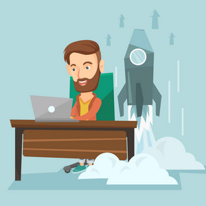 Young caucasian business man working on a laptop on business start up and business start up rocket taking off behind him. Business start up concept. Vector flat design illustration. Square layout.
