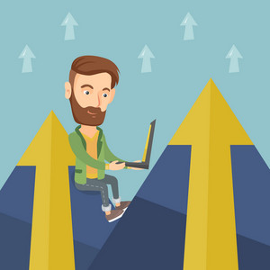 Young caucasian business man working on laptop on the mountain. Hipster business man with the beard sitting on the top of the mountain and using laptop. Vector flat design illustration. Square layout.