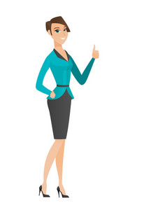 Young caucasian business woman giving thumb up. Full length of smiling business woman with thumb up. Business woman showing thumb up. Vector flat design illustration isolated on white background.
