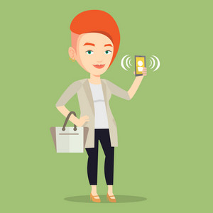 Young caucasian business woman holding ringing mobile phone. Business woman answering a phone call. Business woman standing with ringing phone in hand. Vector flat design illustration. Square layout.