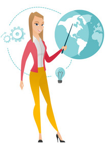 Young caucasian business woman standing in front of globe. Full length of business woman pointing at a globe. Concept of global business. Vector flat design illustration isolated on white background.