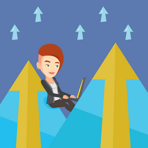 Young caucasian business woman working on laptop on the mountain. Business woman sitting on the top of the mountain and using laptop. Vector flat design illustration. Square layout.