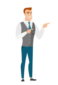 Young caucasian businessman pointing to the side. Businessman pointing his finger to the side. Businessman pointing to the right side. Vector flat design illustration isolated on white background.
