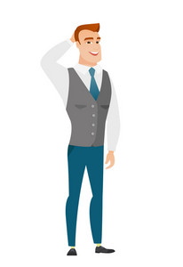 Young caucasian businessman scratching his head. Full length of businessman touching his head. Happy businessman holding hand behind head. Vector flat design illustration isolated on white background.