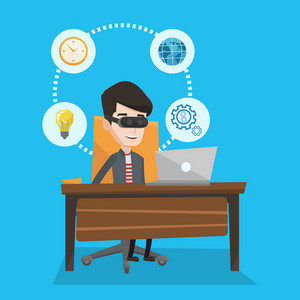 Young caucasian businessman wearing virtual reality headset and working on computer. Happy smiling businessman using virtual reality device in office. Vector flat design illustration. Square layout.
