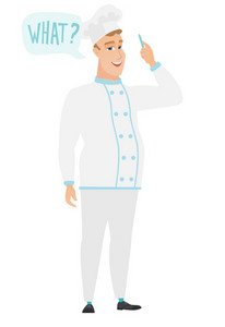 Young caucasian chef cook in uniform with question what in speech bubble. Full length of smiling chef cook with text what in speech bubble. Vector flat design illustration isolated on white background