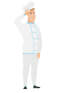 Young caucasian chef cook scratching his head. Full length of thoughtful chef cook scratching head. Puzzled chef cook scratching his head. Vector flat design illustration isolated on white background.