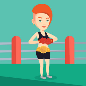 Young caucasian confident sportswoman in boxing gloves. Professional boxer standing in the boxing ring. Smiling sportive woman wearing red boxing gloves. Vector flat design illustration. Square layout