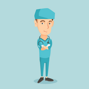 Young caucasian confident surgeon in medical uniform. Confident surgeon standing with arms crossed. Smiling surgeon with stethoscope on his neck. Vector flat design illustration. Square layout.