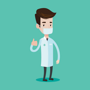 Young caucasian doctor in mask giving thumbs up. Doctor in medical gown showing thumbs up gesture. Vector flat design illustration isolated on blue background. Square layout.