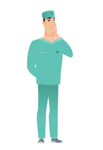 Young caucasian doctor in uniform thinking. Full length of thinking doctor with hand on chin. Doctor thinking and looking to the side. Vector flat design illustration isolated on white background.