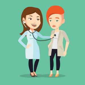 Young caucasian doctor listening to chest of patient with stethoscope. Female patient visiting doctor. Doctor examining chest of a female patient. Vector flat design illustration. Square layout.