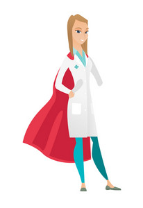 Young caucasian doctor wearing a red superhero cloak. Full length of doctor dressed as superhero. Successful doctor superhero in red cloak. Vector flat design illustration isolated on white background