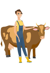 Young caucasian farmer stroking the cow. Female farmer in overalls standing near the cow. Smiling cow breeder standing in front of cow. Vector flat design illustration isolated on white background.