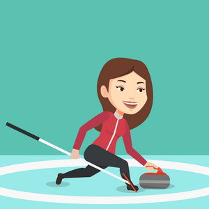 Young caucasian female curling player with stone and broom on a rink. Female curling player delivering a stone. Curling player sliding over the ice. Vector flat design illustration. Square layout.