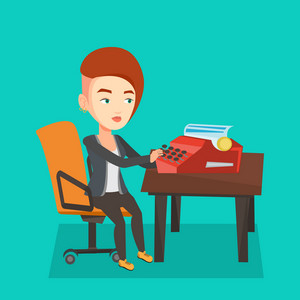 Young caucasian female journalist writing an article on a vintage typewriter. Concentrated female journalist working on retro typewriter. Vector flat design illustration. Square layout.