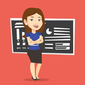 Young caucasian female teacher standing in classroom. Smiling female teacher standing in front of chalkboard. Female teacher standing with folded arms. Vector flat design illustration. Square layout.